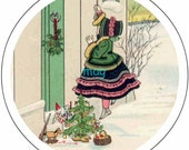 c37  vintage christmas girl door  7 /8 1 1 1/2 2 3 6 inch circle button badge bottlecap tags labels 1.5  2.25 digital collage