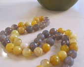 Yellow and grey panels - agate necklace