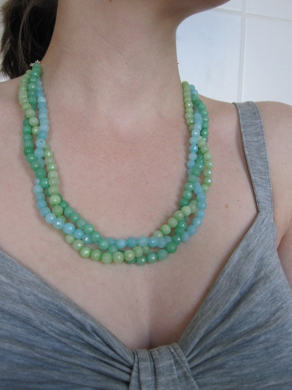 Reserved for Rhiannon - ombre plait - green and blue alabaster necklace