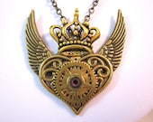 Steampunk Necklace Pendant in Bronze with Winged Heart, Crown Charm, Brass gears and a swarovski crystal