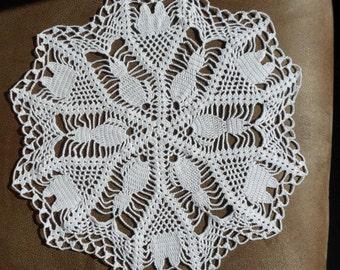 White Kittens Crocheted Doily