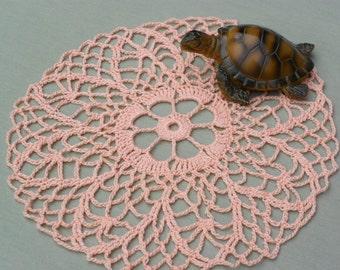 Round Peach Crocheted Doily