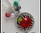 TEACHER GIFT PERSONALIZED Bezel Necklace Pendant Or Keychain