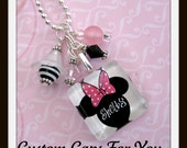 PERSONALIZED  Minnie Mouse Inspired Glass Tile Pendant Necklace Or Keychain Your Choice Of Color