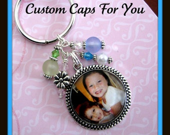 CUSTOM PHOTO BEZEL Pendant Necklace Or Keychain With Matching Beads