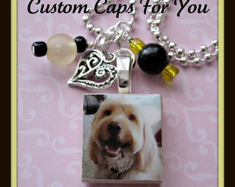 CUSTOM Photo Scrabble Tile Pendant Necklace With Beads And Charm