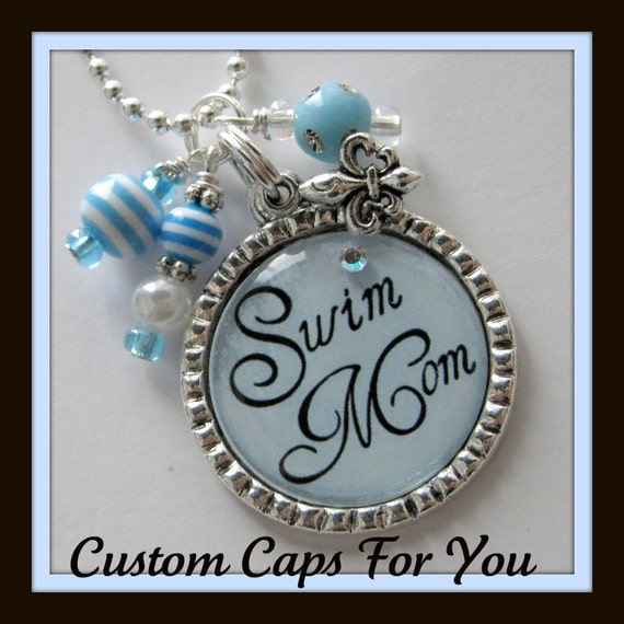 SPORTS MOM Bezel Pendant Necklace Or Key Chain - Swim, Soccer, Baseball, Football And Volleyball  4 Colors To Choose From
