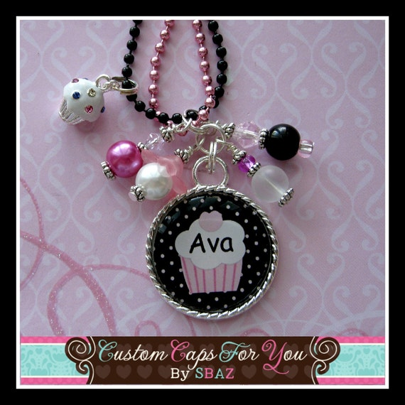 PERSONALIZED Name or BFF Bezel Pendant Necklace Or Key Chain  With Matching Beads And CupCake Charm, Choice Of Two Colors