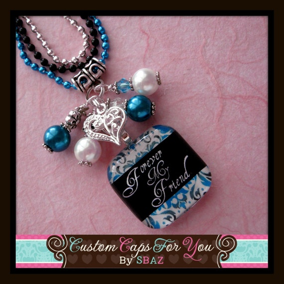 PERSONALIZED Blue And Black Damask Breast Cancer  Glass Tile Pendant Necklace Or Keychain With Beads
