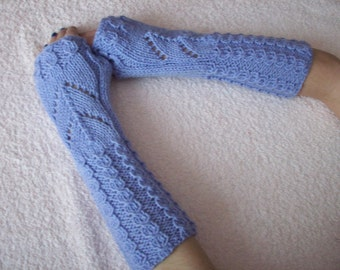 Lilac long fingerless arm warmers with a cable pattern,  Gloves Fingerless, knitted gloves handmade Warm, Women Gloves
