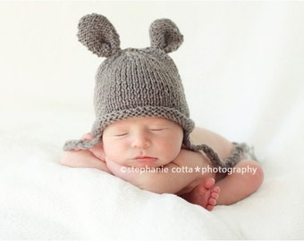 Newborn photo prop, bunny newborn/ baby hat, photography props, newborn boy, newborn girl, newborn hat, knits hat, baby knit hat, bunny hat