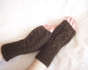 Fingerless mittens with a cable pattern, Gloves Fingerless, knitted gloves handmade Warm,  Women Gloves