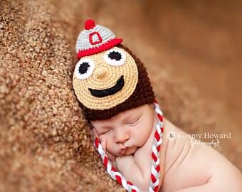 Newborn photo prop,Ohio State Buckeyes newborn/ baby hat, photography props, newborn knit hat, newborn boy, newborn girl, mewborn props