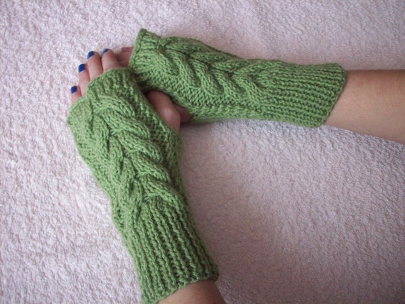 Fingerless mittens with a cable pattern . You can choose color. Knitted gloves handmade warm.  Warmers Women Gloves