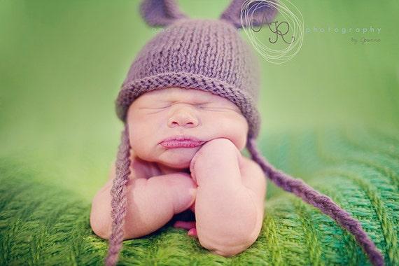 Newborn photo prop, bunny newborn/ baby hat, photography props, newborn boy, newborn girl, baby hat, knit baby hat, bunty hat, newborn props