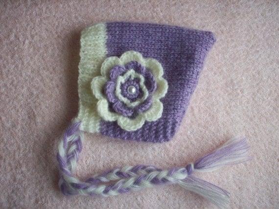 lavender bonnet newborn/ baby hat with a flower,  photography props, newborn bonnet, newborn photo prop, baby, newborn hat, newborn knits