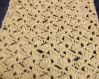 Brown crocheted scarf