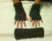 Hunter Green Fingerless Gloves and Ear Warmers