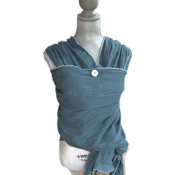 Woven Gauze Wrap Carrier Baby Sling Blue Country Dust