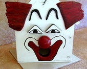 Wooden Clown Bird House - White Red Black Trim Birdhouse - Solid Wooden Nose