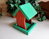 Wooden Bird Feeder Forest Green Cherry Stained Birdfeeder