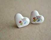 Floral  studs - delicate handmade ceramics jewelry, post earrings