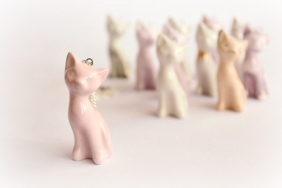 Handmade ceramic kitten in fine delicate shape - ceramic cat necklace pendant in pink - jewelry gift