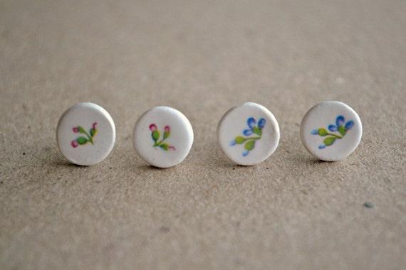 Set of 2 earrings - Small round ceramic post earrings - floral pattern - flower earrings - small stud earrings - pink, blue, cream, white