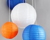 Mobile de lanterne de papier bleu marine et Orange