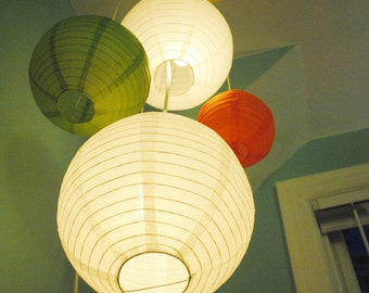 Customizable Lighted Double Paper Lantern Mobile
