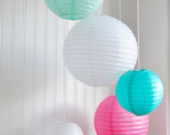 Robin Egg, Teal, Pink and White Paper Lantern Mobile
