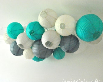 Customizable Large Paper Lantern Cluster Mobiles