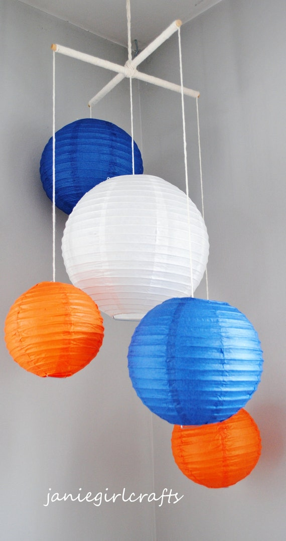 Navy and Orange Paper Lantern Mobile
