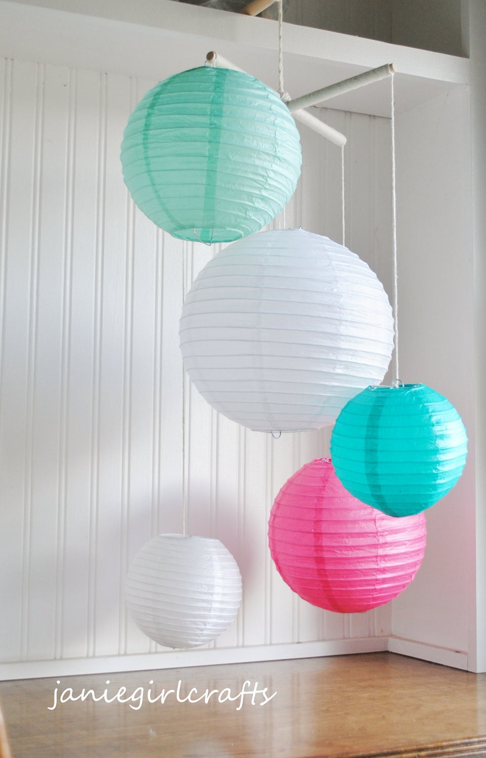 Robin Egg Teal Pink And White Paper Lantern Mobile