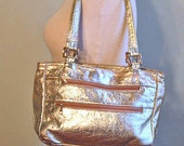Gold Leather Handbag Purse