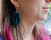 Turquoise and Black Coffin Earrings
