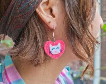 Kitty Lover Pink Heart Earrings