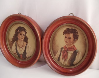 Framed Pictures Boy and Girl by Anne Allaben  Antique 1930s