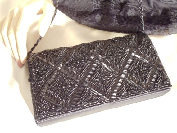 Vintage Black Beaded Clutch Purse