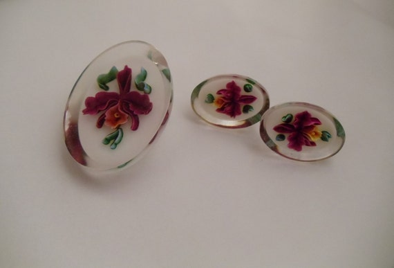Vintage Lucite Orchid Flower Brooch Pin and Earring Set