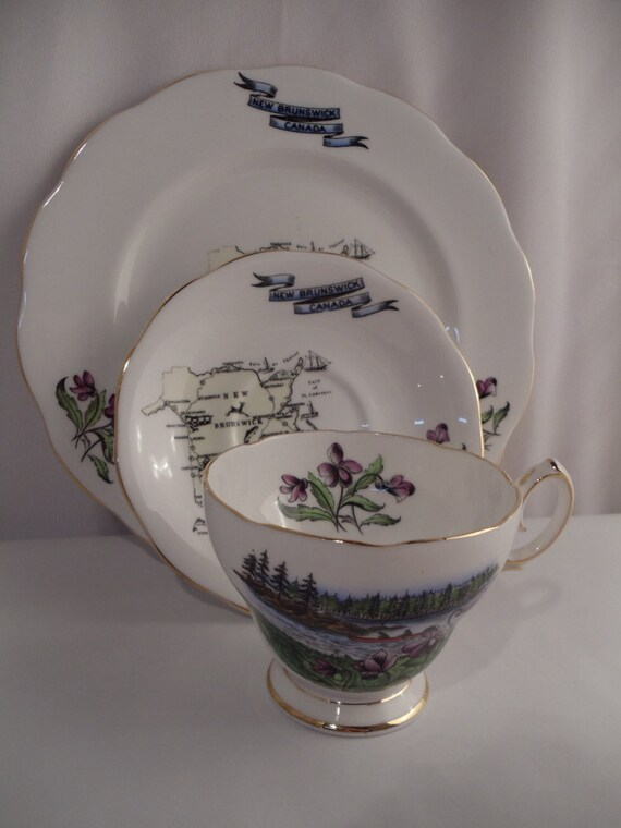 Vintage Canada Collection of Plate Saucer and Tea Cup by Queen Anne China made in England