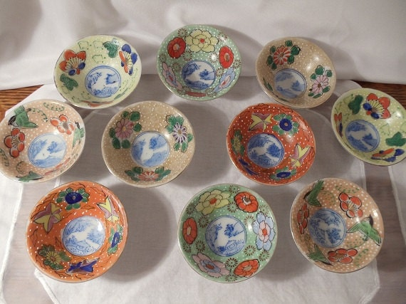 Colorful Porcelain Oriental Dipping Bowls- Set of 10