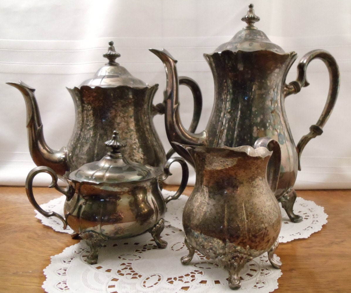 Vintage Newport Gorham 4 Pc Silverplate Tea And By