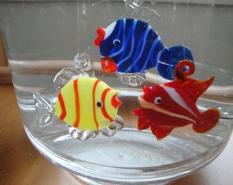 Floating Glass Fishes. Three Pack.
