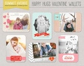 INSTANT DOWNLOAD Happy HUGS Valentine wallet Templates for professional Photographers