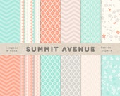 Photography or PERSONAL USE - digital scrapbook paper pack - 12 coral & mint modern designs