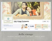 INSTANT DOWNLOAD Facebook Timeline Cover Hello Vintage - with Profile design & Tab Image - by Summit Avenue