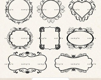 INSTANT DOWNLOAD Clip ArT digital frames & labels with classic swirls  - for photography scrapbook logos or wedding or party favors