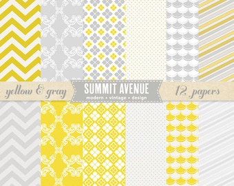 Yellow and Gray digital scrapbook paper pack & patterns - for photographers or personal use