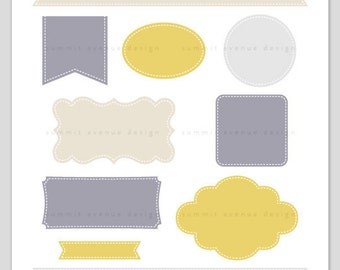 Ribbon & Label Shapes - digital CLIP ART - for photography scrapbook or logos - Instant Download